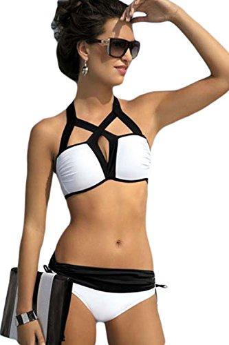 Preisvergleich Produktbild Loveours Mädchen Damen Strand Strappy Schwarz und Weiß Zweiteilige Neckholder Push Up Bikini Set (M)