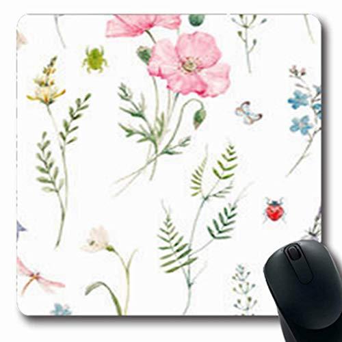 Gsgdae Mauspad Libelle, sanftes Aquarell, Blumenmuster, Rosa Mohnblumen, sanft, Blumen, Glocke, grüne Pflanzen, Blätter, länglich, 20 x 24 cm, rechteckig, Anti-Rutsch-Mauspad -