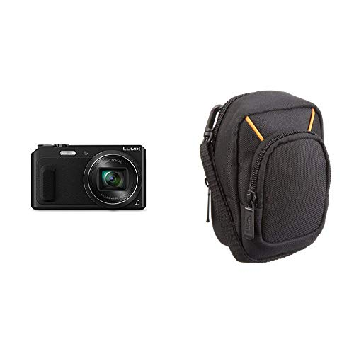 Panasonic lumix dmc-tz57eg-k fotocamera, sensore mos 16 mp, zoom ottico 20x, video full hd, wink detector, wi-fi certified, nero & amazonbasics - custodia per fotocamera compatta, misura grande