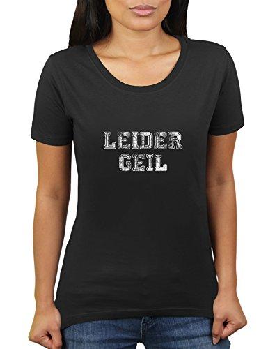 Leider Geil - Damen T-Shirt von KaterLikoli, Gr. L, Deep Black