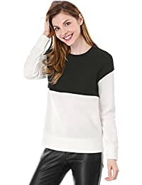 Allegra K Women's Drop Shoulder Crew Neck Color Block Sweatshirt