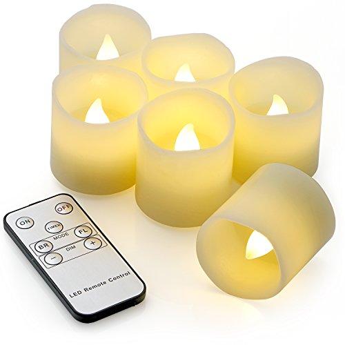 6 Flackernden LED Teelichtern Echtwachs (Zeiteinstellung, Fernbedienung und Batterien), 3 Modi Dimmbare, Sicheres Flammenloses LED Kerzen Teelichter