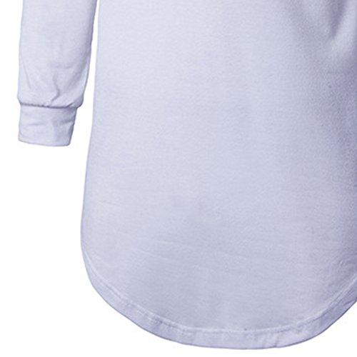 JOLIME Herren Langarmshirt Oversize Shaped Hoodie Sweatshirt Lange Hip Hop Hipster T-Shirt Weiß