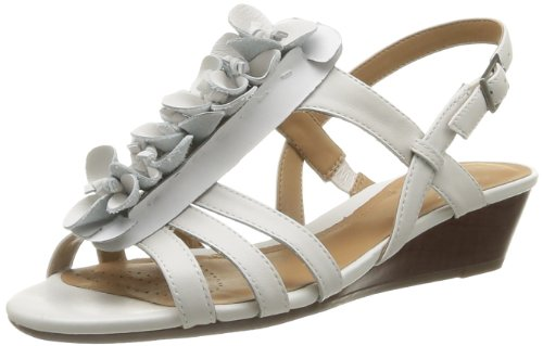 Clarks Playful Gift, Sandales femme Blanc (White Leather)