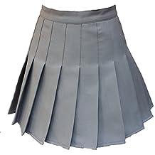 Donne a vita alta Solid Pieghe Mini Tennis Skorts o gonna 13colori 2stili grigio Grey Single-layer Waist:30.5 Inch