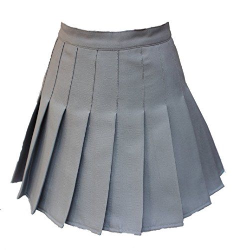 Donne a vita alta Solid Pieghe Mini Tennis Skorts o gonna 13 colori 2 stili grigio Grey Single-layer Waist:30.5 Inch