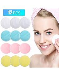 Joseche Tampons de Maquillage réutilisables 12 Paquets, Tampon de Coton Lavable en Bambou avec Sac à Linge