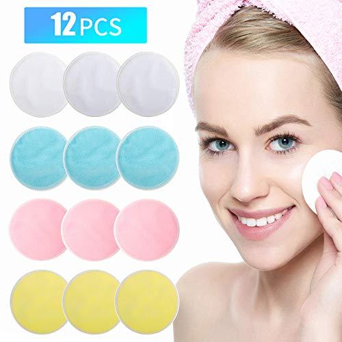 Make-up Entferner Pads - Joseche wiederverwendbare Bambus Remover Pads 12 Packungen mit Wäschebeutel - Chemikalie frei, wiederverwendbare weiche Gesichts-und Hautpflege Waschbar Tuch Pads -