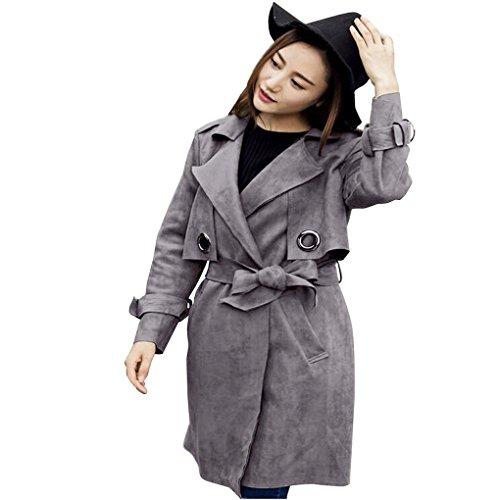 Frauenkleidung❀❀ JYJMMode Frauen Herbst Winter Windjacke Mantel Jacke Wildleder Outwear Parka Mantel (S, Grau) (Wildleder Unten)