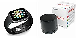 MIRZA Smart Watch & Bluetooth Speaker for PANASONIC ELUGA L 4G(S10 Bluetooth Speaker & Bluetooth A1 Smart Watch Wrist Watch Phone with Camera & SIM Card Support Hot Fashion New Arrival Best Selling Premium Quality Lowest Price with Apps like Facebook,Whatsapp, Twitter, Sports, Health, Pedometer, Sedentary Remind & Sleep Monitoring, Better Display, Loud Speaker, Microphone, Touch Screen, Multi-Language, Compatible with Android iOS Mobile Tablet-Assorted Color)