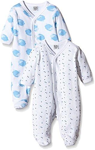 Care Baby-Jungen Schlafstrampler, 2er Pack, Weiß (White 100), 0-3 Monate (Herstellergröße: 50)