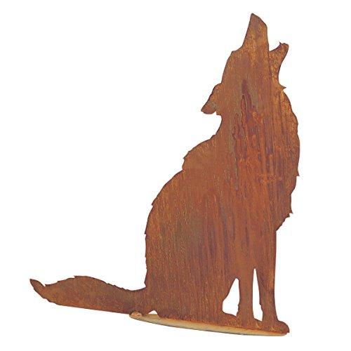 SAREMO Rost heulender Wolf auf Platte, H ca. 73 cm | SA-WolfP | 4260353198410