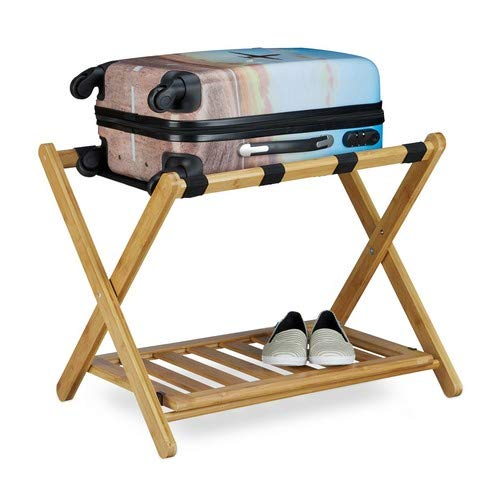 Relaxdays Kofferständer Bambus, klappbar, für Koffer & Reisetaschen, 2 Ablagen, Gepäckablage, HBT 53 x 68 x 47 cm, natur - Bambus-stuhl-abdeckung