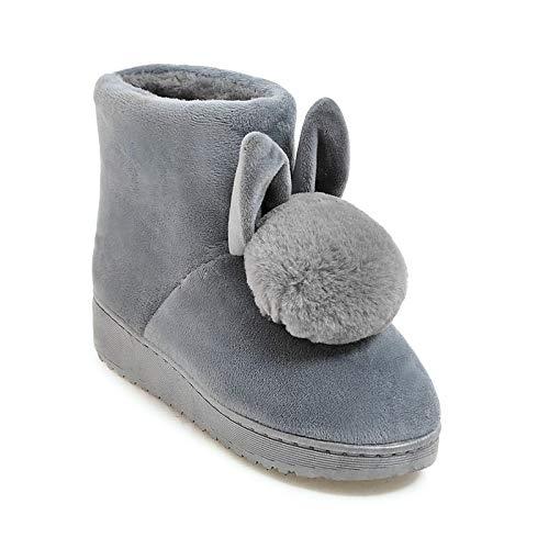 IWxez Frauen Schneestiefel Mikrofaser Herbst & Winter Sweet Boots Flache Ferse runde Form Mitte der Wade Stiefel Pom-pom Schwarz/Grau / Rosa, Grau, US7.5 / EU38 / UK5.5 / CN38 - Pom Pom Flache Stiefel