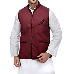 CALIBRO Mens Cotton Red Nehru Jacket