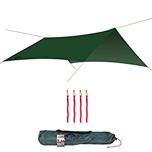 herenear waterproof sunshade rain fly, lightweight large tent tarp portable camping hammock shelter with reflective rope and windproof stakes, 3m x 3m