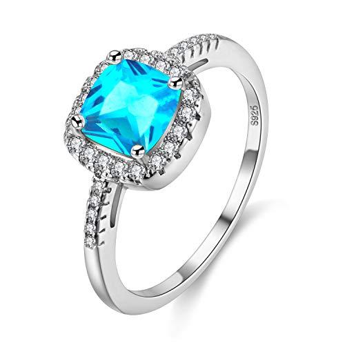 Uloveido Simulierte Ocean Blue Square Topas Diamant Solitaire Trauringe, Halo Ringe für Annivery/Engagement/Party Schmuck für Frauen (Blau, Größe 59) Y3100 (Halo Diamant Versprechen Ringe)