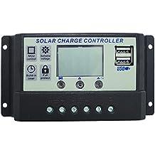 nuzamas 12V/24V Panel Solar regulador controlador de carga 30A PWM Pantalla LCD USB puerto
