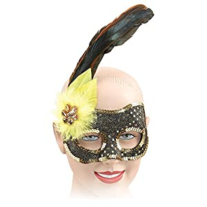 Black/Gold Sequin Mask +Yellow Feather (máscara/careta)