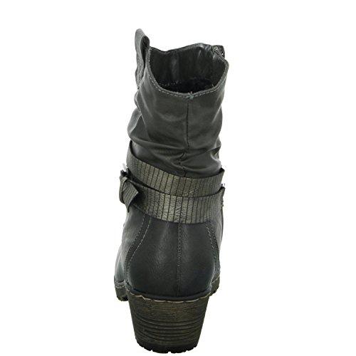 Alyssa W1616-3 Damen Schlupf/Reißverschlussstiefelette Warmfutter eleganter Boden Grau (Grau)