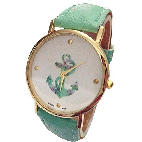 Minetom Vintage Blume Damen Anker Muster Quarz Armbanduhr Lederarmband Uhr Top Basel-Stil Rhinestones geometrischen Watch-Grün