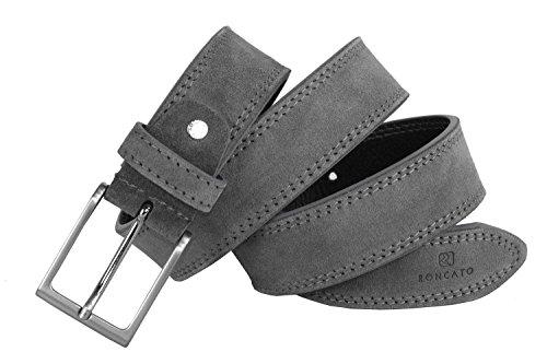 Cintura uomo RONCATO grigia in pelle scamosciata impunturata lunga 110 cm R6444