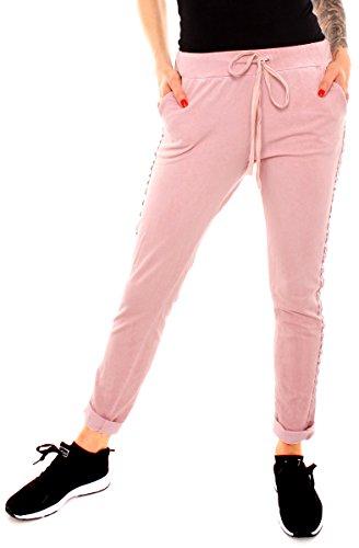 Damen Sweat Jersey Sport Relax Hose Sweatpants Jogginghose Joggpants Jogger Lang Baumwolle Silber Glitzer Seitenstreifen Rosa XL - 42