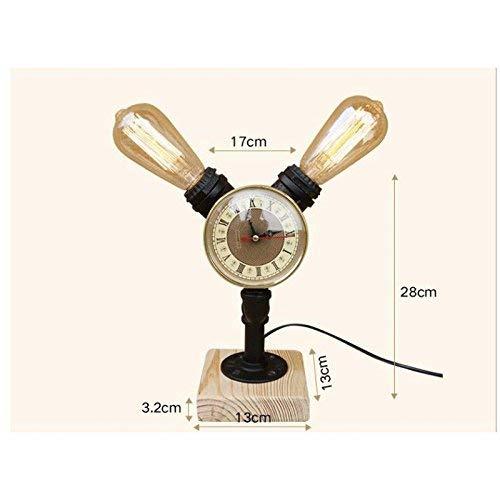 AAXCC Tischlampe Steampunk britischen Stil Retro Schlafzimmer Nachttisch Persönlichkeit Schmiedeeisen Rohr Lampe 2 Lichter, aus Holz, 28 cm hoch * 13 cm lang * 13 cm breit - 28 Cm Hoch Tischlampe