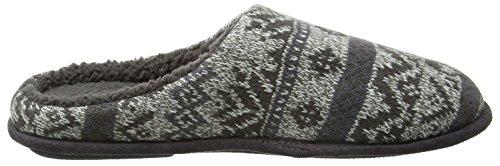 Isotoner Herren Fair Isle Knit Mule Slippers Pantoffeln Grau (Grey Marl)