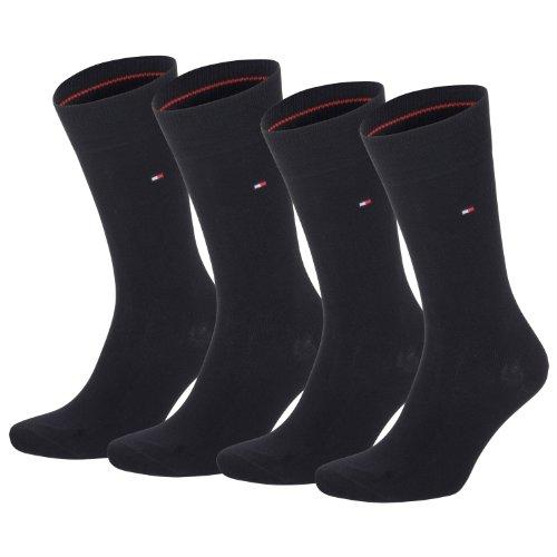 TOMMY HILFIGER Herren Classic Casual Business Socken 4er Pack (black / black, 43-46)