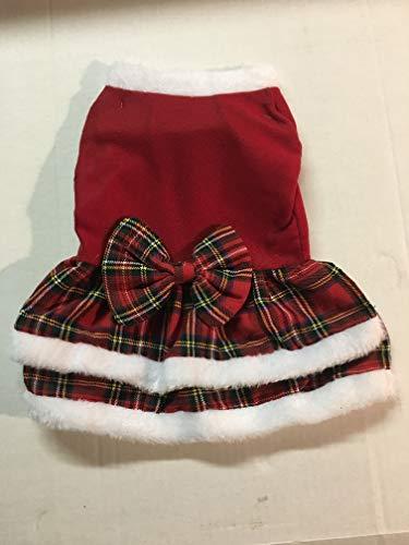 Christmas Rock Kostüm - Cappy's Cool Christmas Hunde-Kostüm für Weihnachten, kariert, Rock, Weihnachtsmann, Small Plaid