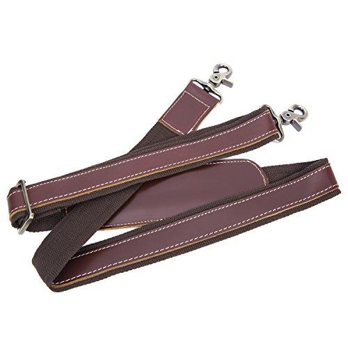 BAIGIO Herren Leder und Nylon Schultergurt Reisetasche Umhängetasche Abnehmbare Tragegurt Schulterriemen für Umhängetasche Schultertasche Reisetasche Tasche, Dunkelbraun Braun