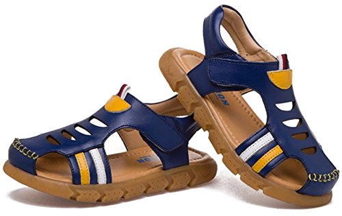 DADAWEN Sandale /Chaussures en cuir artificiel pour mixte enfants Bleu