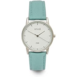 Anaii Pure - Ladies Analogue White Dial Light Blue leather Strap Watch - AP837LightBlue
