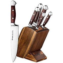 Emojoy Set de Couteaux, 6 Pièces Ensemble de Couteaux, Couteaux de Cuisine de Bloc en Bois, Bloc de Couteaux German Stainless Steel en Bois Pakka