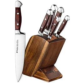 Emojoy Set Coltelli, Set di Coltelli da Cucina 6 Pezzi,Professionali Coltello Cucina con Ceppo Coltelli,Acciaio Tedesco…