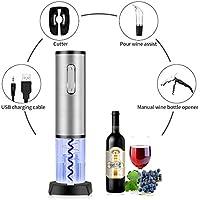 TOQIBO Elektrische Korkenzieher 6 Sekunden, um den Rotwein zu öffnen! Elektrische Flaschenöffner Weinöffner, Kapselschneider für Weinflaschen mit geliefert USB Ladekabel,Silber