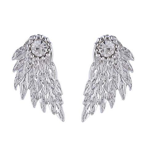 Damen Strass Ohrringe Ohrstecker Flügel Engelsflügel Silber Gold (Silber)