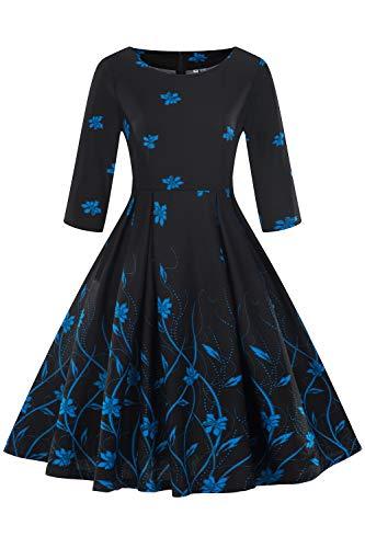 2018 Automne Robe de Soirée Imprimée à Fleurs Manche 3/4 Col Rond Vintage année 20s 90s Robe Femme Fête Habillée Bleu L