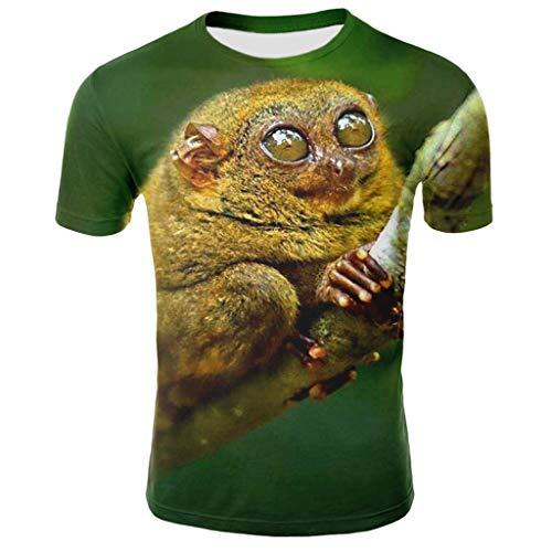 Tyoby Sommer Herren Fun T-Shirt Horror Tierdruck Kurzärmliges Oberteil Freizeit Tops Mode Herrenbekleidung (Grün,L)
