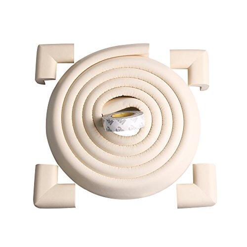 TRITINA Corner Guards and Edge Bumpers - 2.2m / 7ft [6.5ft Edge Cushion + 4 Corner Cushion] Protecteur pour Enfants, sécurité pour Enfants, Home Safety Mamami (Blanc Lait)