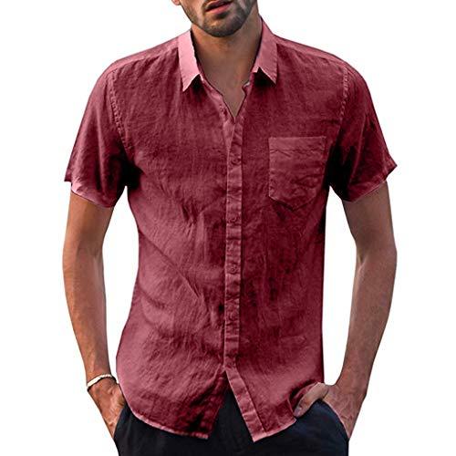 Tops Herren Sommer Shirts Basics Baumwolle Tank Tops Fitness Running Polo Bluse Strand Hemden Herbst 2019 Neu Qmber Hemdoberteil Lässiges einfarbiges aus Leinen mit losem Knopf/Rot,3XL -