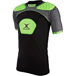 Gilbert Men's Atomic V3 Body Armour, Black/Volt Green, Medium