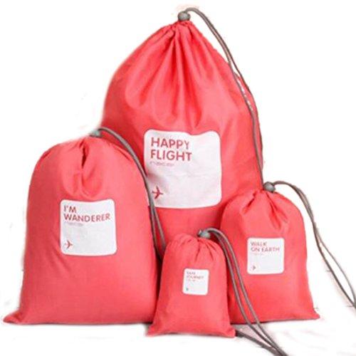 Sacs de rangement pour voyage maquillage cosmétique 4 pièces/lot Pochette étanche pour sous-vêtements Organisateur rose rouge