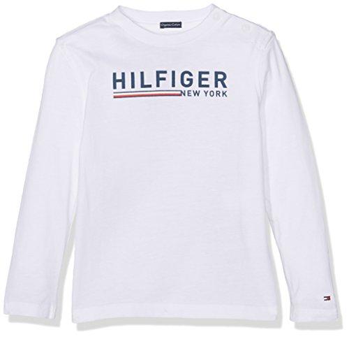 Tommy Hilfiger Jungen Langarmshirt Ame Hilfiger 3 Clr CN Tee L/S, Weiß (Bright White 123), 98 (Herstellergröße:3) (Lange Ärmel Ames)