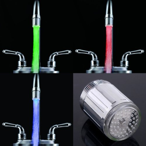 SODIAL(R) 2 PCS of 7 RGB Colors Automatic Change LED Light Water Stream Faucet Tap