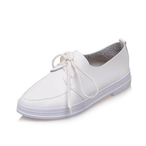 VogueZone009 Femme Lacet Fermeture D'Orteil Rond à Talon Bas Pu Cuir Couleur Unie Chaussures Légeres Blanc