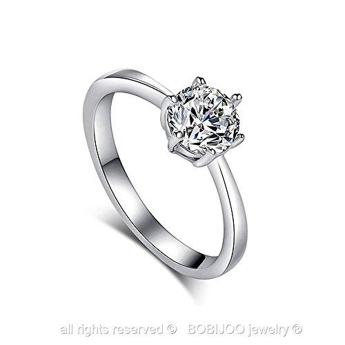 BOBIJOO Jewelry - Bague Solitaire Plaqué Argent Faux Diamant Zirconium 6 mm Fiançaille Cadeau Bijou Taille au choix - 52 (5.5 US), Argenté Argenté
