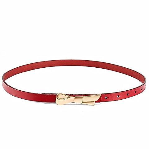LONFENNE Les femmes à la taille avec noeud papillon décontracté cuir ceinture décorative,80-91cm ,de