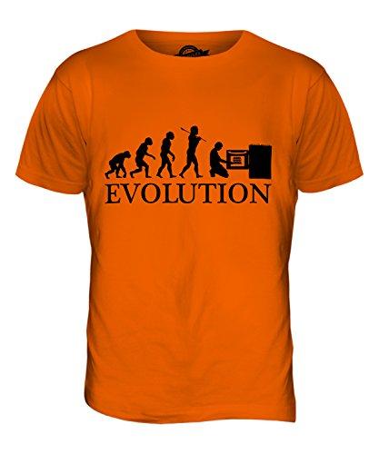 CandyMix Bäcker Evolution Des Menschen Herren T Shirt Orange